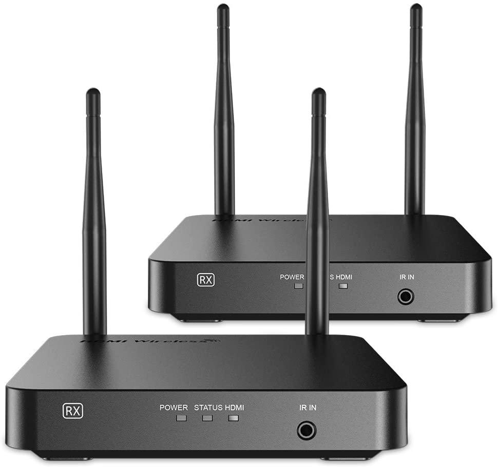 SANNCE Wireless HDMI Extensor Inalambrico Enrutador Amplificador Señal de WiFi 328 pies / 100 Metros Compatible Con Control Transmisión 100m Remoto IR Transmisor y Receptor