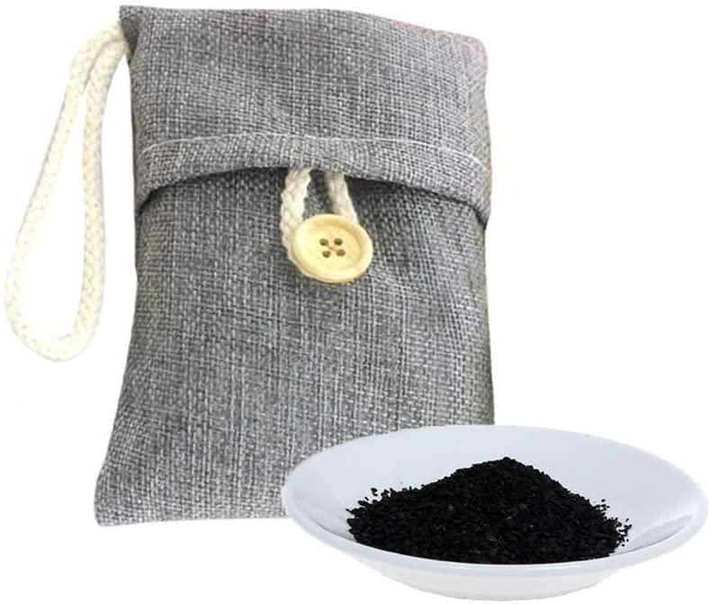Sencillo Vida Bolsa de Carbón Activado De Bambú Deshumidificador Y Purificador Ambientador Eficaz y Desodorante para Eliminar los Olores Del Automóvil, Armarios,Cocina, Zapatos (Gris, 10 Pcs)