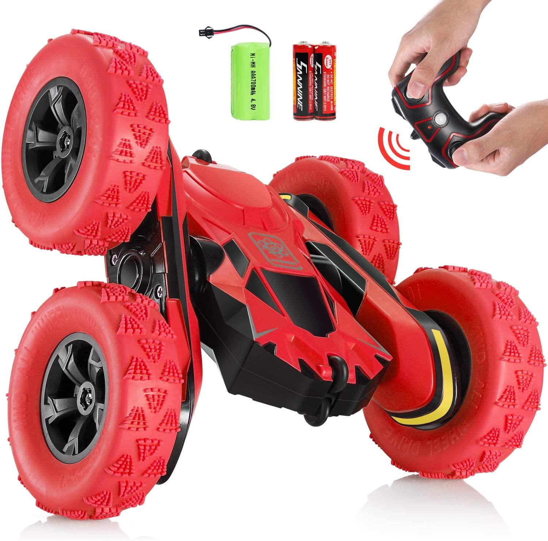 SGILE 4WD Coche Teledirigido, 15km/h 2.4 GHz RC Coche Acrobacia Rotación Volteo de 360 Grados, con Batería Recargable, Regalo para Niños