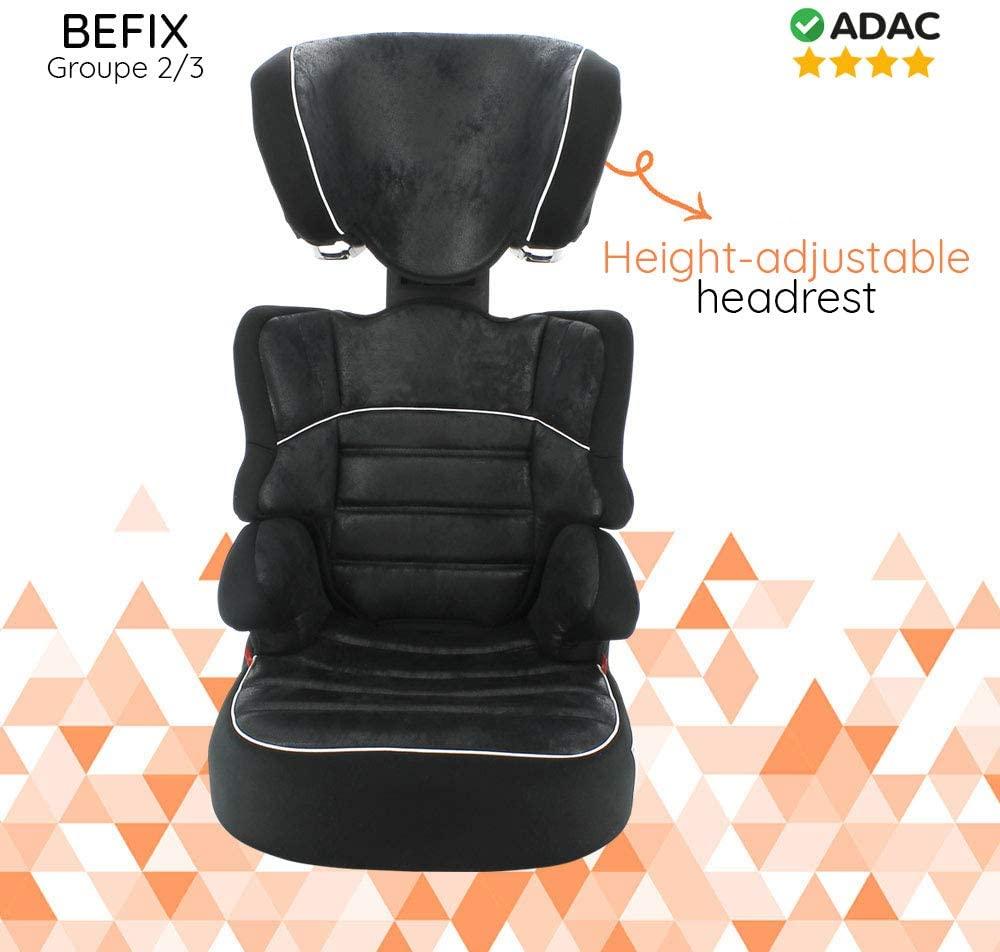 Silla de coche Grupo 2/3 (15-36kg) - Fabricación 100% Francesa - 3 estrellas Test ADAC/TCS - 4 coloridos - Reposa Cabeza y asiento Tapizado, acolchado y ajustable.