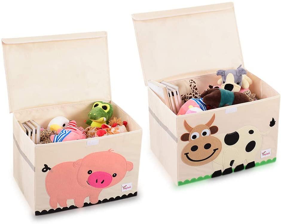 SITAKE Conjunto de 2 Caja de Almacenamiento para Niños - Caja de Juguetes y Almacenamiento - Caja y Armario Organizador para niños (52 x 36 x 35,5 cm, Cerdo Rosa y Vaca)