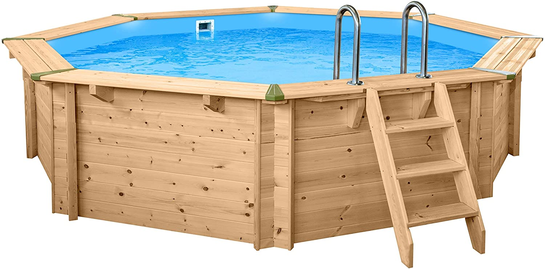 SL247 Luxus Redondo Pool de Madera I Piscina Sobre Suelo 440cm Diámetro I 116cm de Profundidad I Piscina Juego Completo Incluye Arena Filte rpume y Filtro Balls