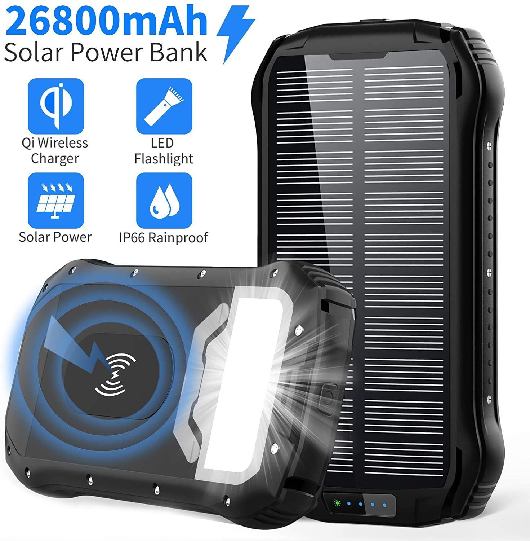 Solar Power Bank 26800mAh Cargador Solar Batería Externa Móvil+4 Puertos:Carga Rapida Tipo C/QI Carga Inalámbrico/Dos 3.1A+4 Modo Iluminación:SOS Linterna+18 LED+Impermeable para iPad Teléfono Viajes