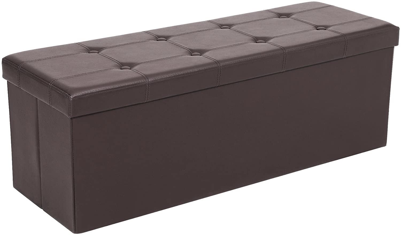 SONGMICS Baúl, Puff, Taburete para Almacenaje Plegable, Carga Máxima de 300 kg, 110 x 38 x 38 cm, Marrón LSF703