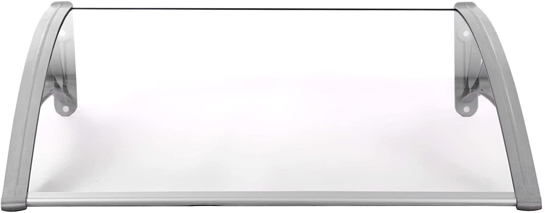 SONGMICS Marquesina para Puertas Ventanas Toldo Cubierta de policarbonato de 3 mm Transparente 125 x 75cm GVH128