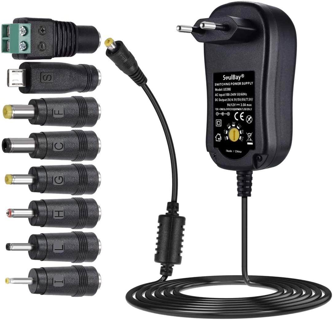 SoulBay 36W Adaptador Universal de AC DC Regulables Fuente de alimentación 3V / 4,5V / 5V / 6V / 7,5V / 9V / 12V Cargado Incl. 8 enchufes adaptadores -3000mA máximo