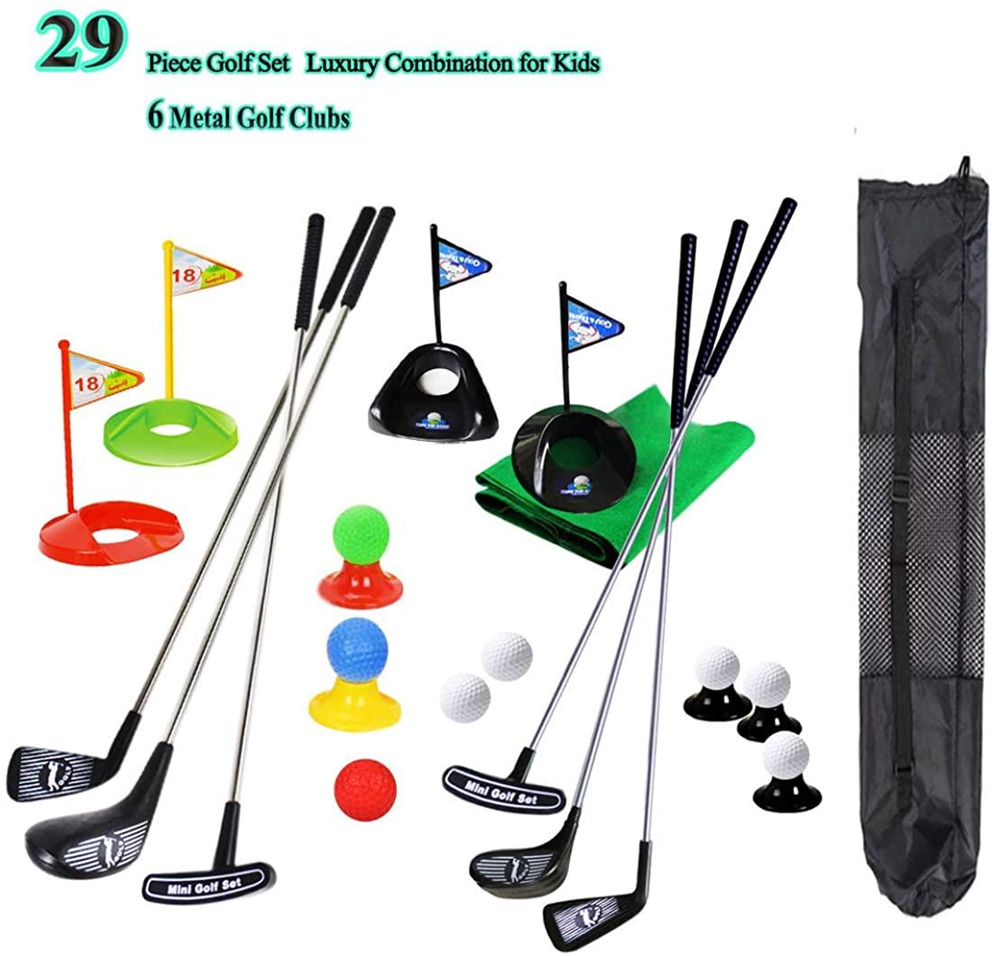 SOWOFA Juego de Club de Golf para niños portátil Juguete Estera de la Bandera Pelotas de práctica de Golf 29 Unidades Deportes Juego de Golf al Aire Libre para niños con Mochila