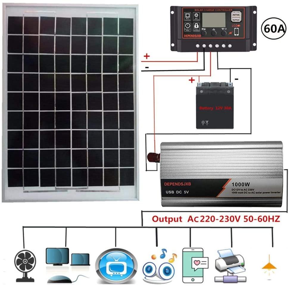 steadyuf Kit inversor Controlador Solar Controlador LCD de protección de conexión inversa Sistema de energía Solar AC230V 1000W Panel Solar 18V20W 12V A AC230