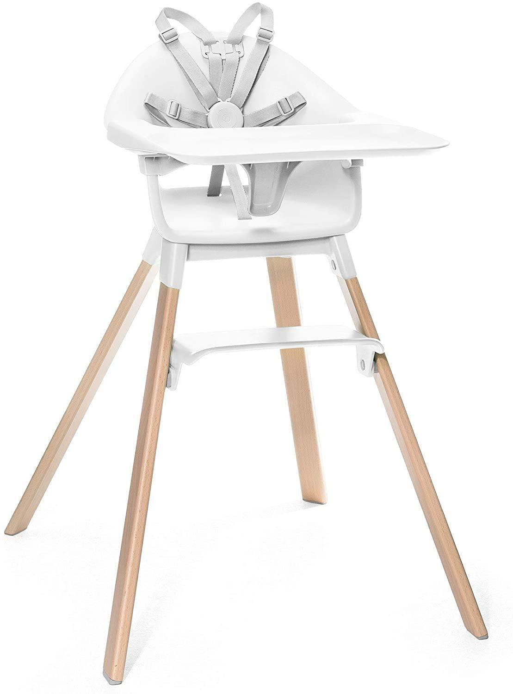 Stokke Clikk - Trona de madera con arnés y bandeja │ Silla de bebé para comer con asiento y reposapiés ajustables │ Portátil │ color: White
