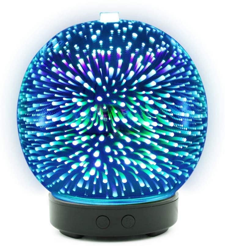 STRIR Humidificador Aromaterapia Ultrasónico 100ml,Bola de cristal 3D Difusores Aceites Esenciales con 7-Color LED,Auto-Apaga, Difusor de Aroma Aceites Esenciales de Vapor Frío [Clase de eficiencia energética A]