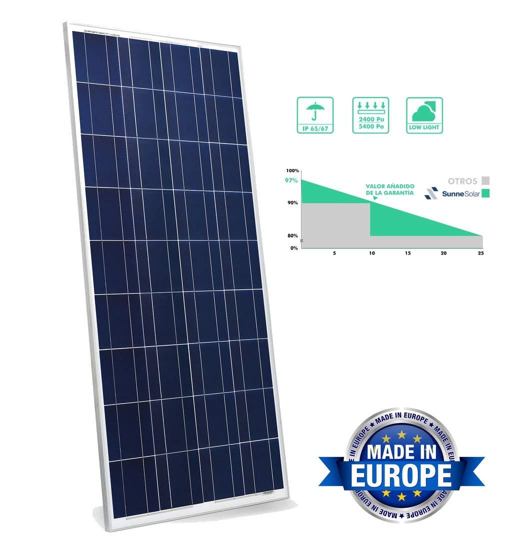 SunneSolar - Panel Solar Policristalino de 330W, 24V y 72 células ideal Para Vivienda Habitual Chalets e Instalaciones en Casas de Campo