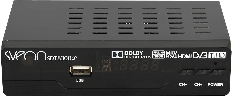 Sveon SDT8300Q9 - Sintonizador y grabador TDT HD con USB, color negro