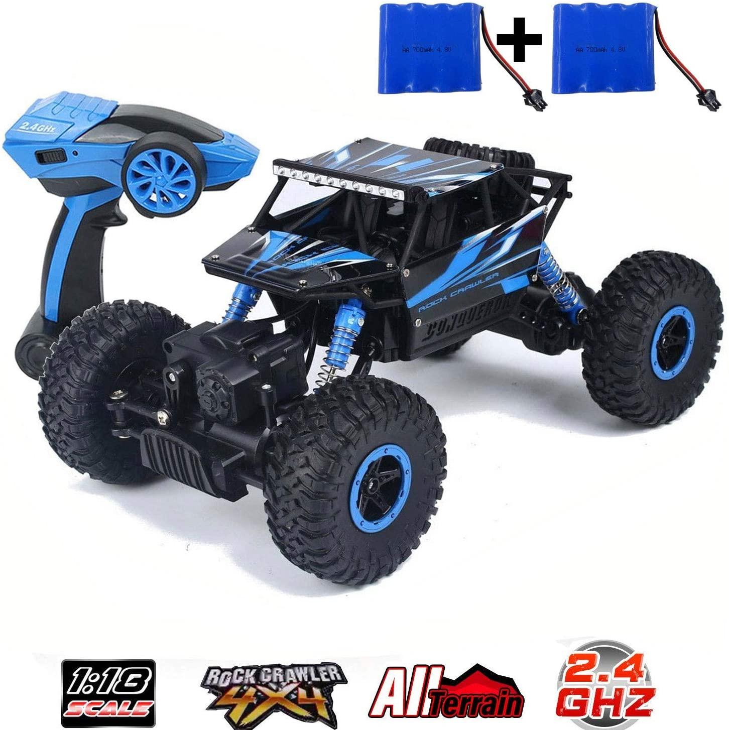 SZJJX RC Camiones de Control Remoto de Carretera 2.4 GHz 4 WD Potente 1:18 Carreras Escalada Coches Radio Eléctrico Rock Crawler Buggy Hobby Juguete para niños Regalo-Azul