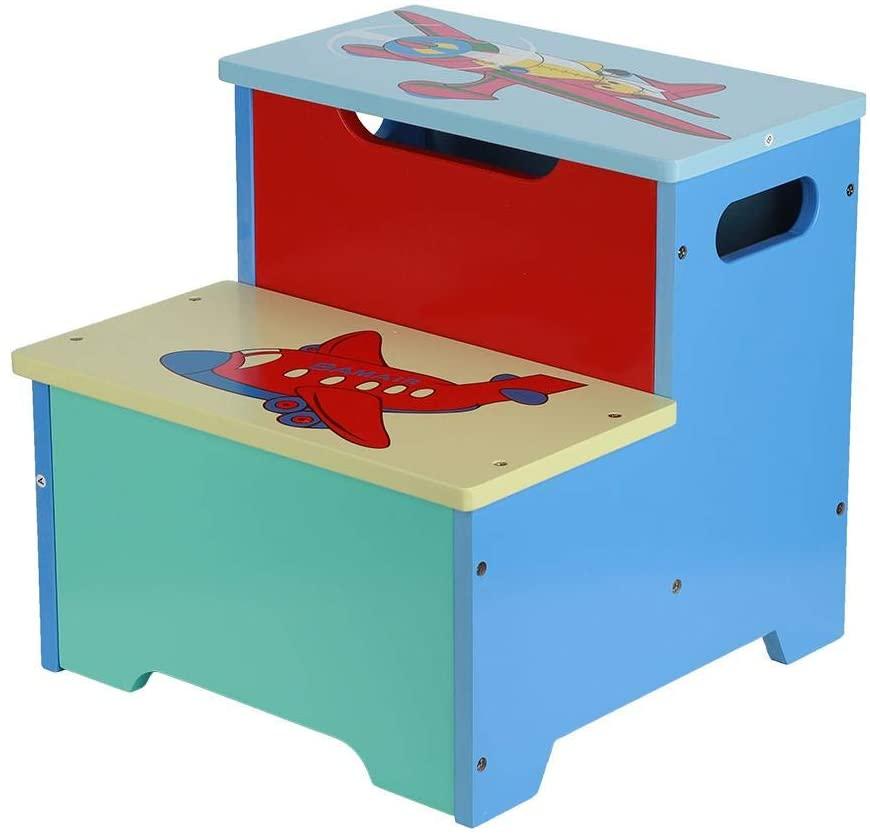 Taburete de Almacenamiento para Niños,Taburete de Escalera de Madera de 2 Escalones con Caja de Almacenamiento para Cocina de Baño Taburete Multifuncional