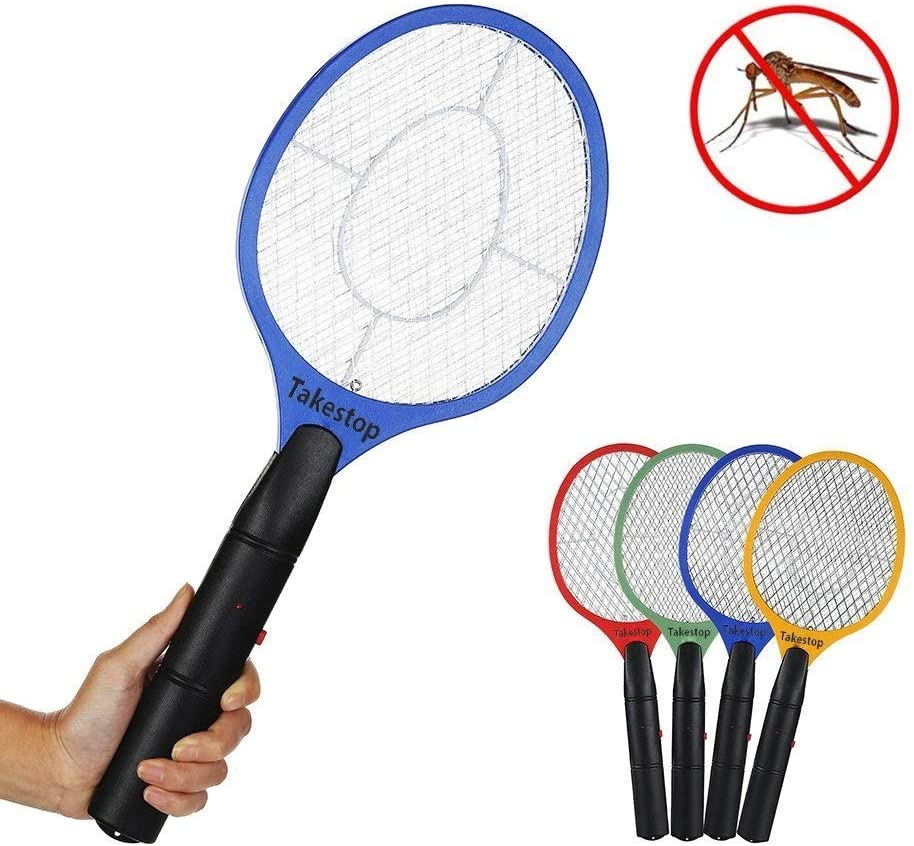 Takestop® - Raqueta eléctrica recargable matamosquitos, antimosquitos tigre, moscas, insectos, avispas, abejas, arañas. Par la casa, el camping o el lago.