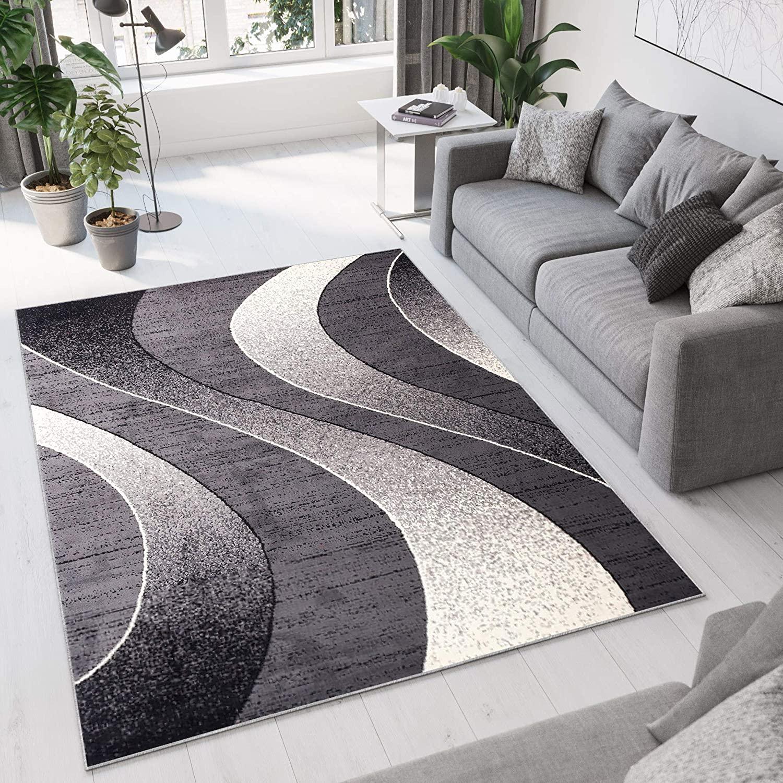 Tapiso Alfombra De Salón Moderna – Color Gris Oscuro Diseño Ondas – Varias Dimensiones S-XXXL 140 x 200 cm