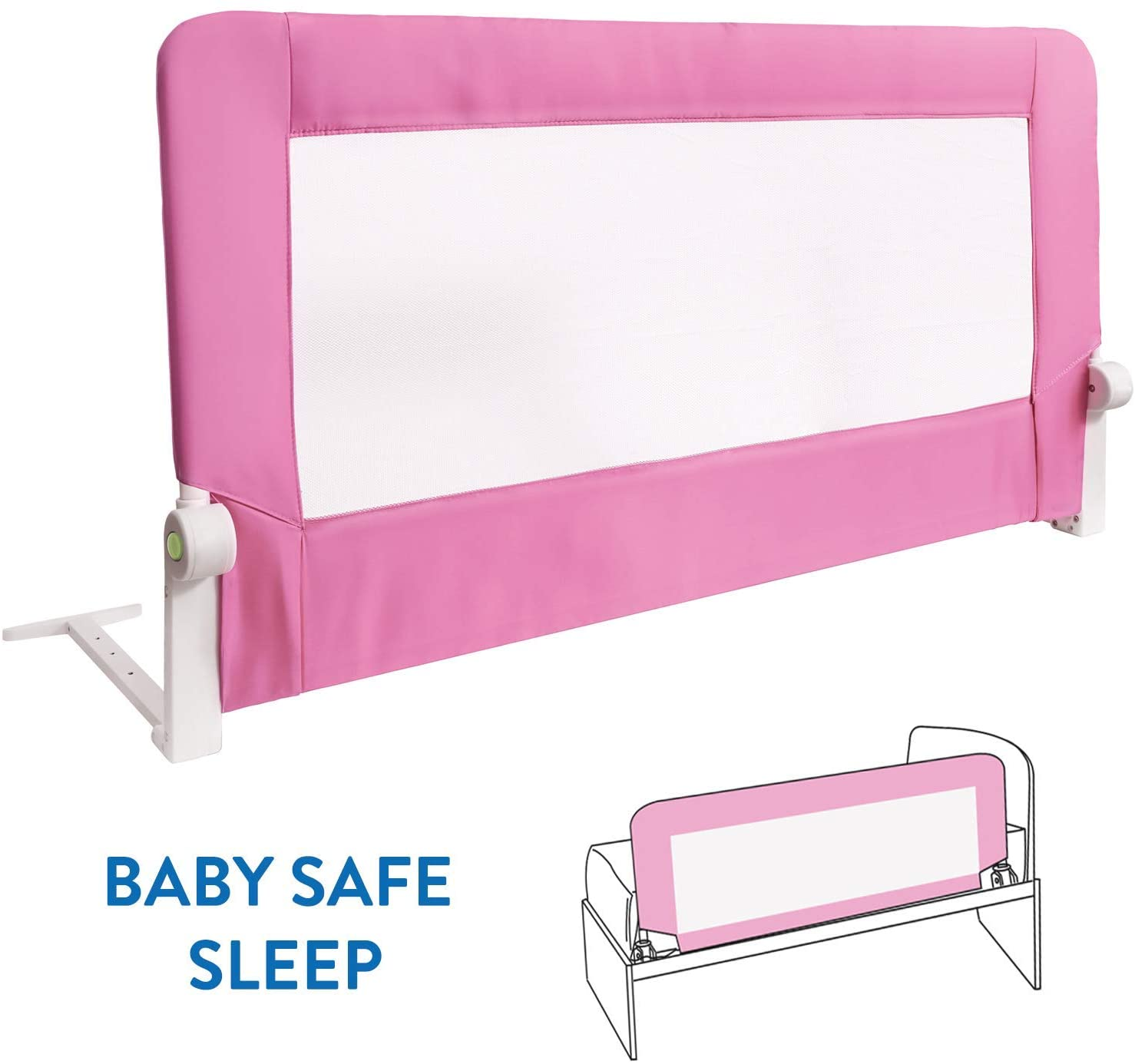 Tatkraft Guard Barandilla para Cama de Bebé Abatible Anticaidas Acero/Plástico/Poliester Rosa 120X47X65 cm