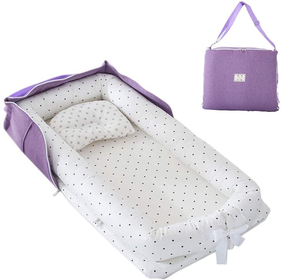 TEALP Tumbona para bebé con Almohadas, Nido Transpirable para Bebé Recién Nacido para Cosleeping, Capazo de Bebé, Punto Blanco y Negro