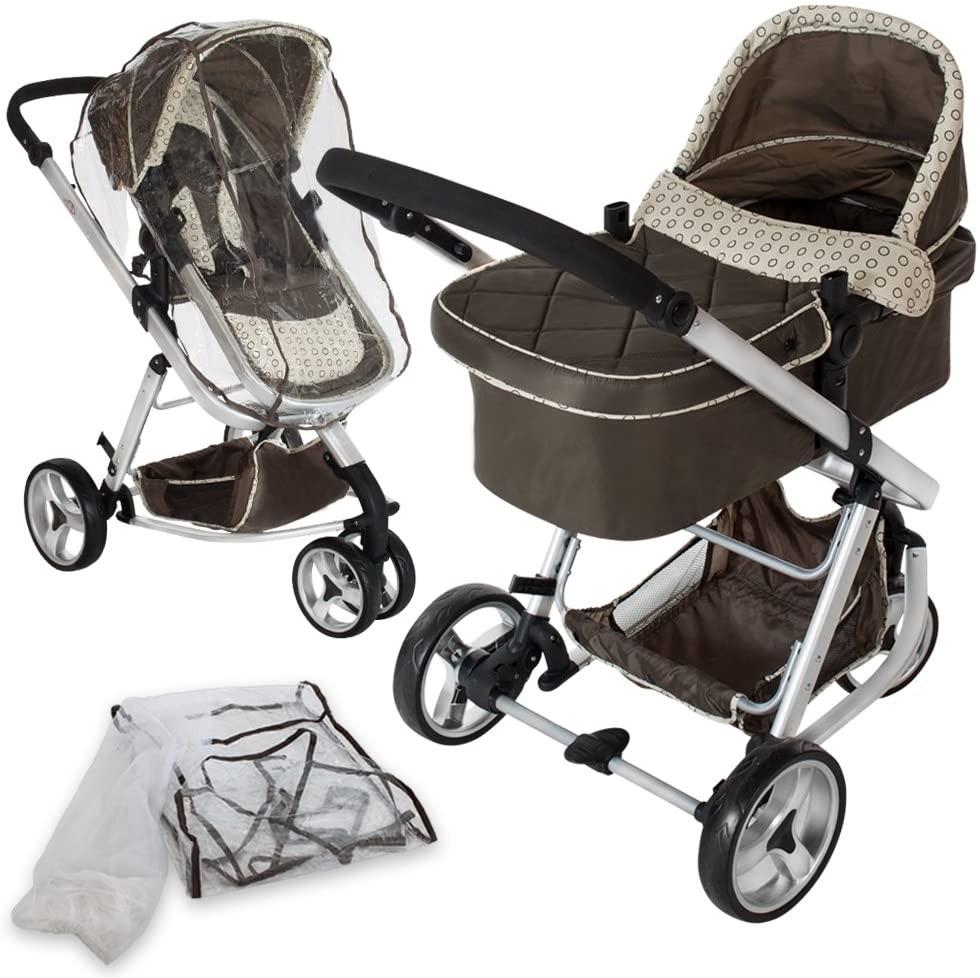 tectake 800043 - Cochecito para Bebés, Carrito con Capazo, 3 Ruedas, con Giro de 360°- disponible en varios Colores (Marrón | No. 401070)