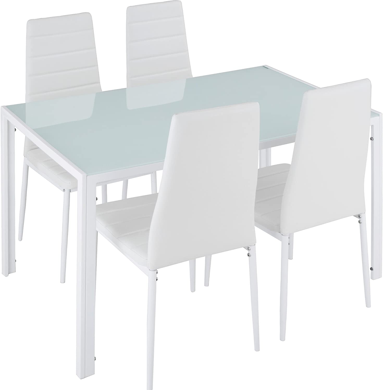 TecTake Conjunto de Mesa y 4 sillas de Comedor   Alto Grado de Confort   Tablero de la Mesa Robusto, de Vidrio Templado de Seguridad (Blanco   No. 402838)
