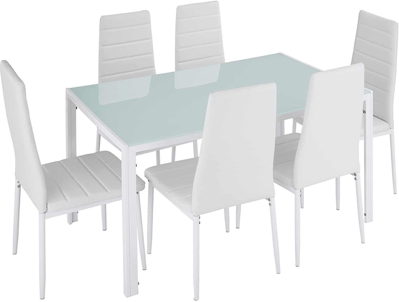TecTake Conjunto de Mesa y 6 sillas de Comedor (Blanco   No. 402840)