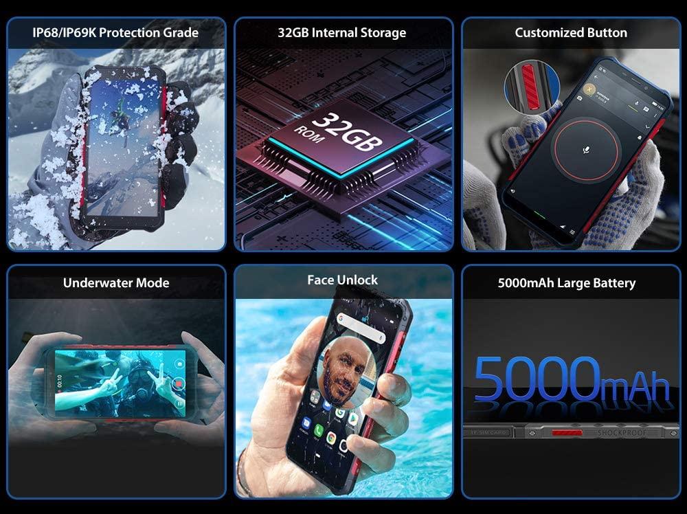 """teléfono moviles Resistentes(2019), Ulefone Armor X3 con Modo Submarino, Android 9.0 5.5 """"IP68 Impermeable móvil Trabajo, Dual SIM, 2GB + 32GB, 5000mAh Batería, Desbloqueo Facial GPS Rojo [Clase de eficiencia energética A+++]"""