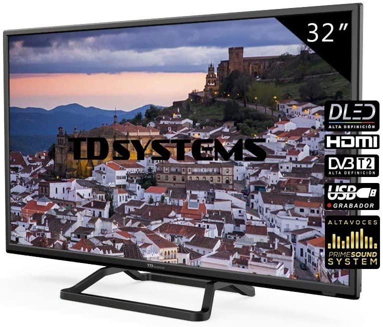 Televisores LED 32 Pulgadas TD Systems K32DLM10H. 2X HDMI, VGA, USB Grabador Reproductor, DVB-T2/C/S2 [Clase de eficiencia energética A+]