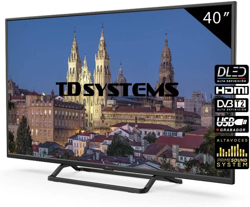 Televisores LED 39,5 Pulgadas TD Systems K40DLX10F. 3X HDMI, VGA, USB Grabador Reproductor, DVB-T2/C/S2 [Clase de eficiencia energética A+]