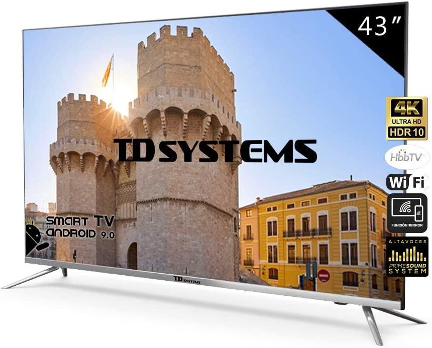 Televisores Smart TV 43 Pulgadas 4K / Android 9.0 / Hbbtv / 1300 PCI Hz/ 3X HDMI/ 2X USB/UHD HDR10/ DVB-T2/C/S2/ Televisiones Led TD Systems K43DLJ10US [Clase de eficiencia energética A]