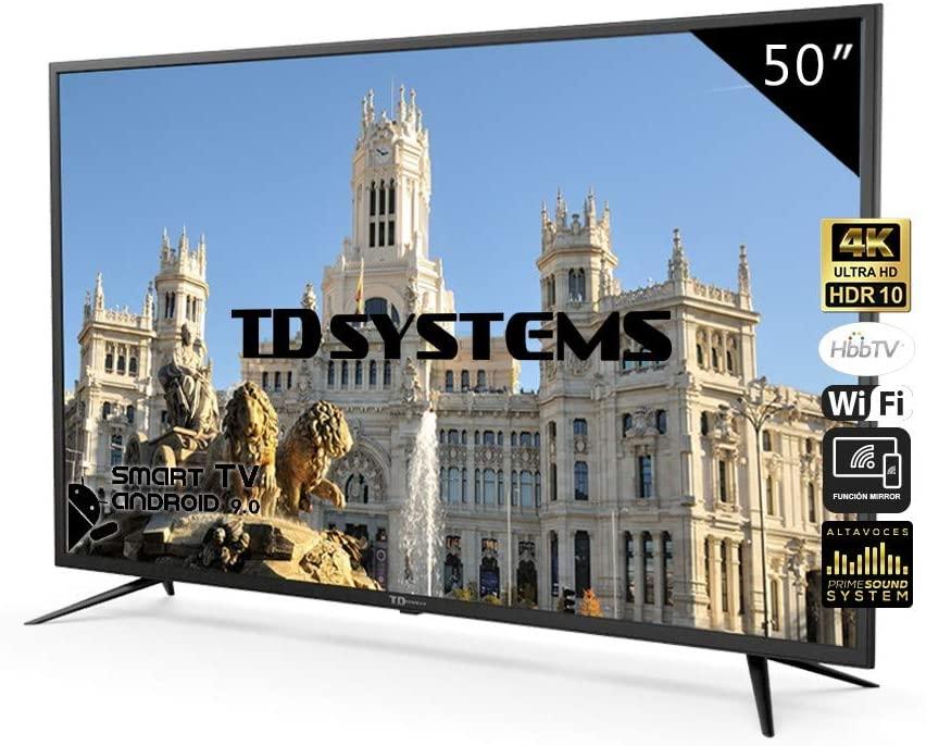 Televisores Smart TV 50 Pulgadas 4K UHD Android 9.0 y HbbTV / 1500 PCI Hz/ HDR10 / 3X HDMI / 2X USB/DVB-T2/C/S2 / TD Systems K50DLJ10US/ TDSystems [Clase de eficiencia energética A]
