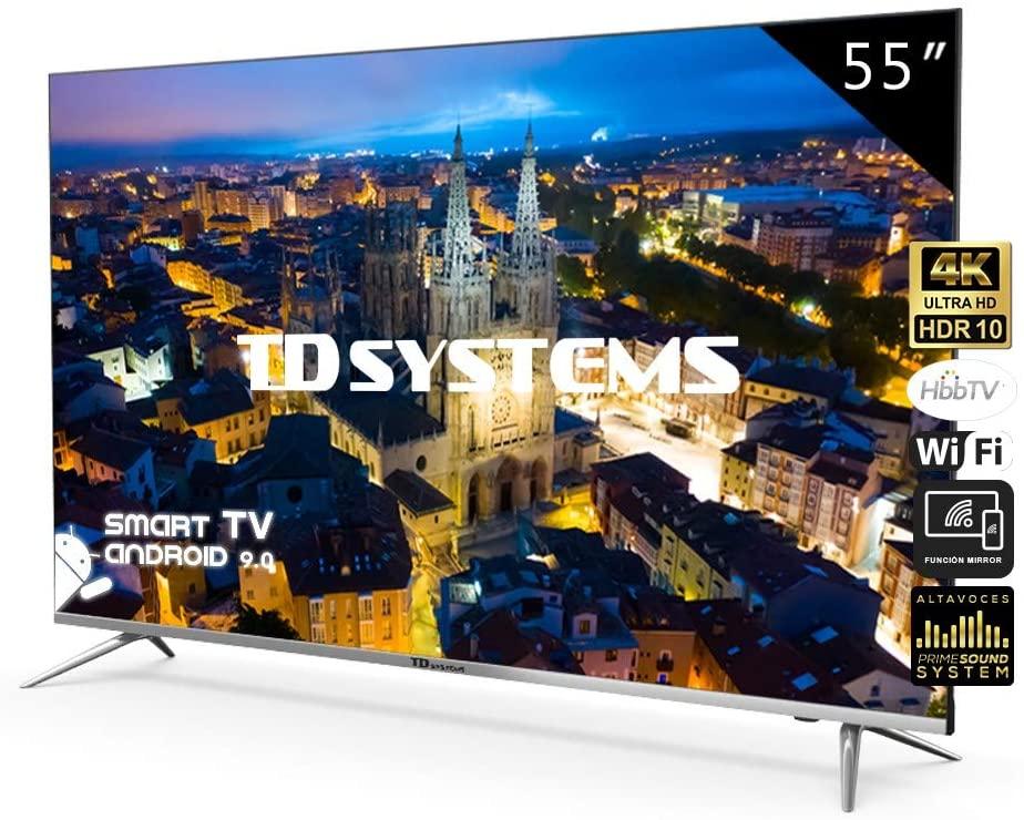 Televisores Smart TV 55 Pulgadas 4K UHD Android 9.0 y Hbbtv / 1300 PCI Hz/ 3X HDMI/ 2X USB/UHD HDR10/DVB-T2/C/S2/ televisiones led TD Systems K55DLJ10US [Clase de eficiencia energética A]