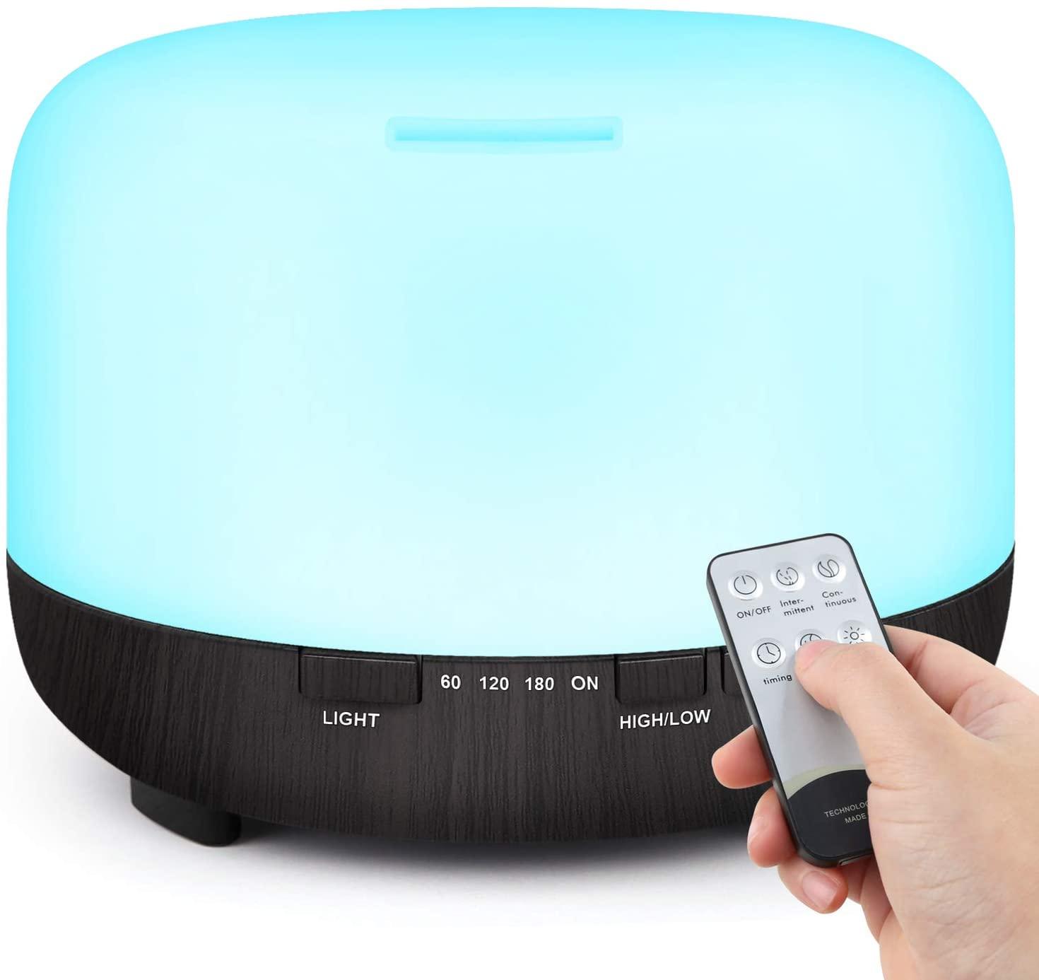 TENSWALL 500ml Difusor de Aceite Esencial, Control Remoto Humidificador Ultrasónico con Luces LED Cambiantes de 7 Colores-Negro