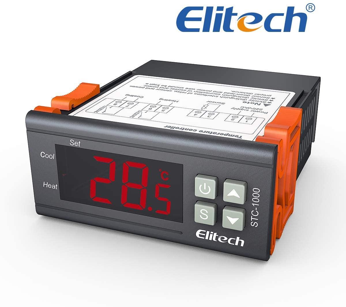 Termostato STC-1000, Elitech 220V Digital Display LCD Sensor Controlador de Temperatura Termostato para Todo Uso en el Acuario de la Aprobación CE✩Garantía de 12 meses✩