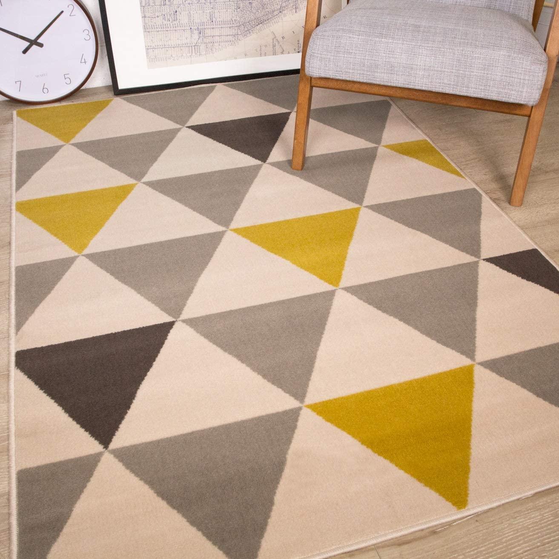 The Rug House Milan Ocre Amarillo Mostaza Gris Beige con triángulos arlequín Tradicional Alfombra de salón 120cm x 170cm