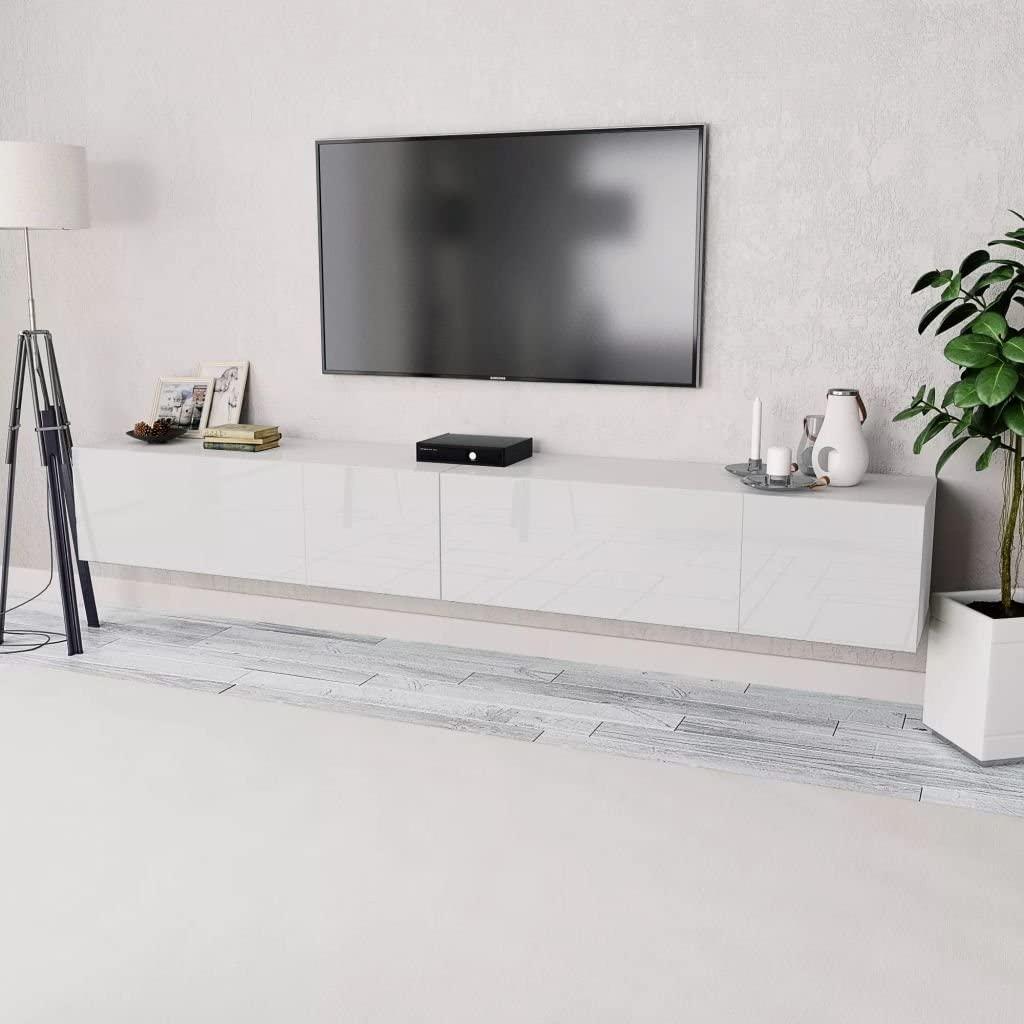 Tidyard 2xMesas para TV Mueble TV Salón Mesa Televisión Mueble Comedor Televisor Bajo de Estilo de Moderno PVC 120x40x34cm Blanco