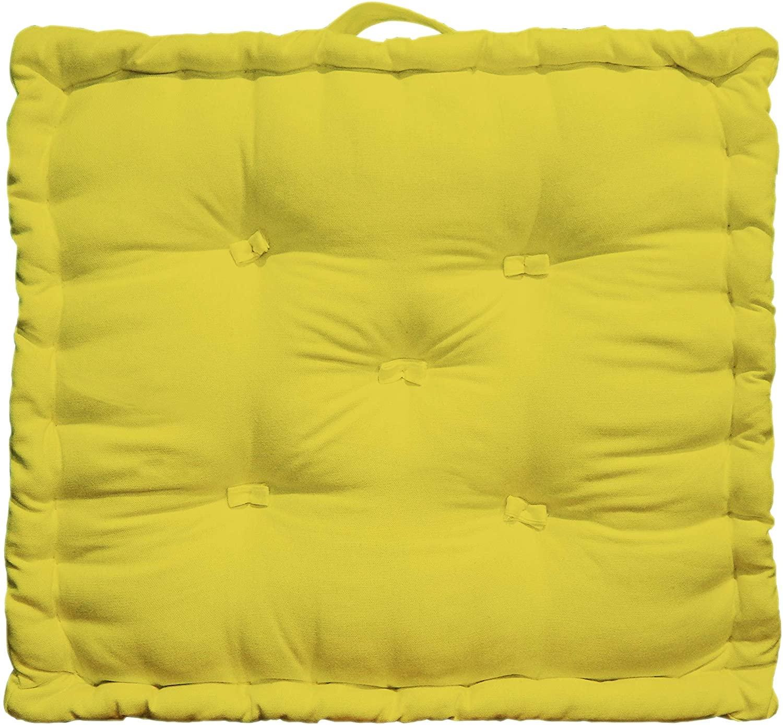 Tiny Break - Cojín de Suelo de algodón, 50 x 50 x 10 cm, 1 Unidad, Amarillo, 50 x 50 x 10 cm
