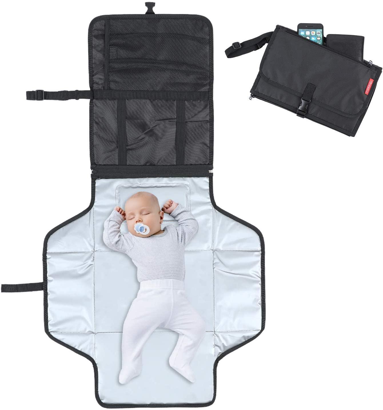 Tonsmile Cambiador Portátil de Pañales para Bebé, Impermeable Kit Cambiador de Viaje Bolsa para Cambio de Pañales en Viajes Esterilla Lavable Completamente Acolchado