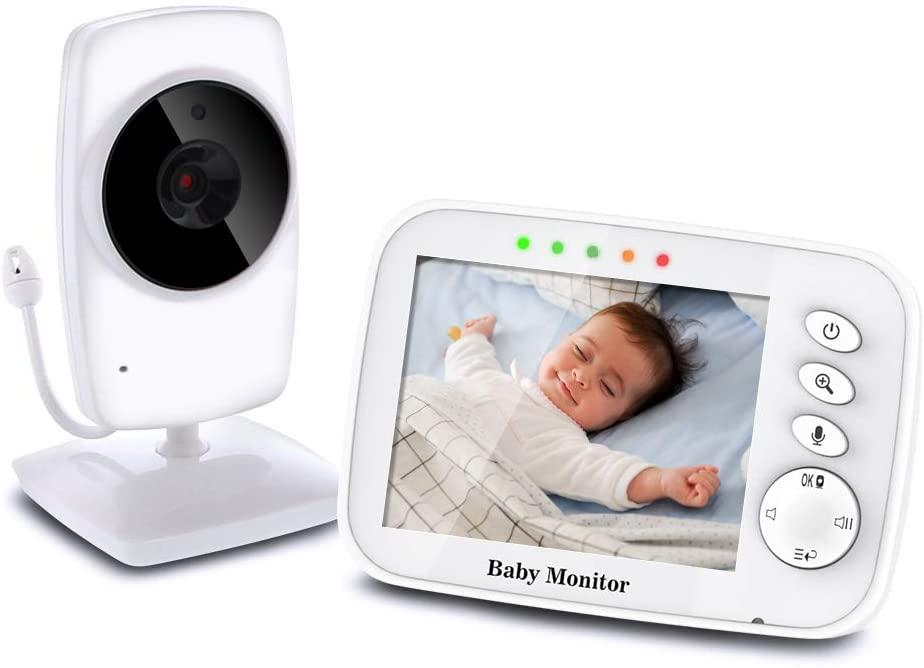 """TOPERSUN Vigilabebés Inalámbrico Monitor de Bebé Inteligente con Pantalla LCD 3.2"""" y Cámara con Visión Nocturna Comunicación Bidireccional"""