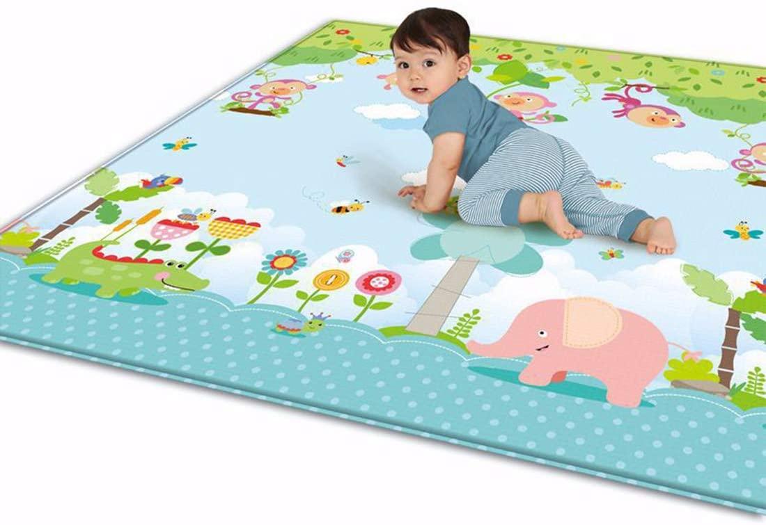 Tosbess Alfombra de juegos para bebé, Bebé Crawl Mat Niños Playmat plegable, antideslizante, extragrande, reversible, impermeable, de doble cara, para niños pequeños y bebés, 200 x 180 x 1cm