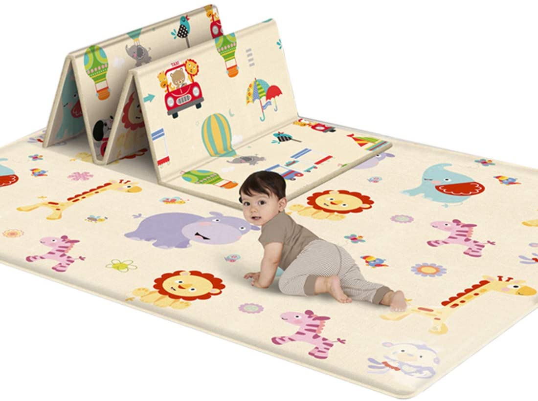 Tosbess Alfombrilla de Juego para Bebé, Alfombra Infantil Plegable LDPE Espuma Alfombrilla, Impermeable Antideslizante Reversible Grande Baby Play Mat, 180 x 100 x 1cm