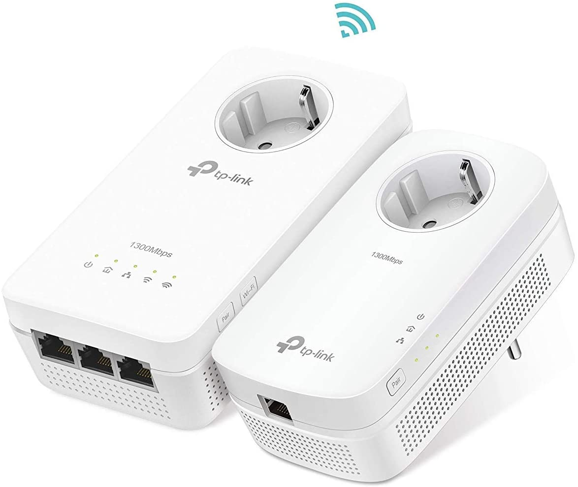 TP-Link TL-WPA8630P 2 PLC - KIT Repetidor de WiFi (WiFi AC1200 Mbps, Extensor, Repetidores de Red, Amplificador de wifi, 3 Puertos, Enchufe, ideal Smart TV, Ps4, Nintendo Switch)