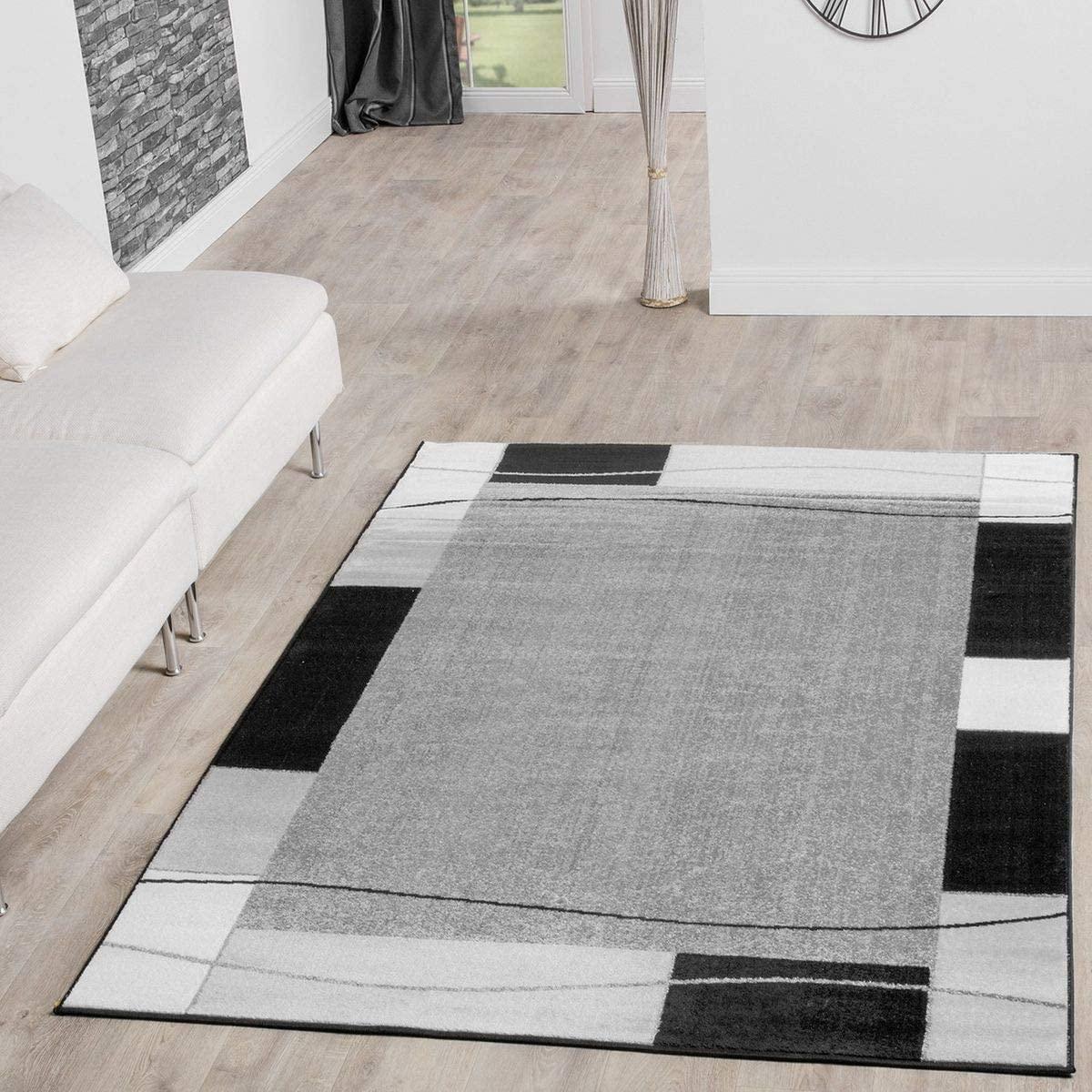 T&T Design Alfombra De Salón Moderna Económica Diseño Ribete Gris Negro Mejor Precio, Größe:160x220 cm