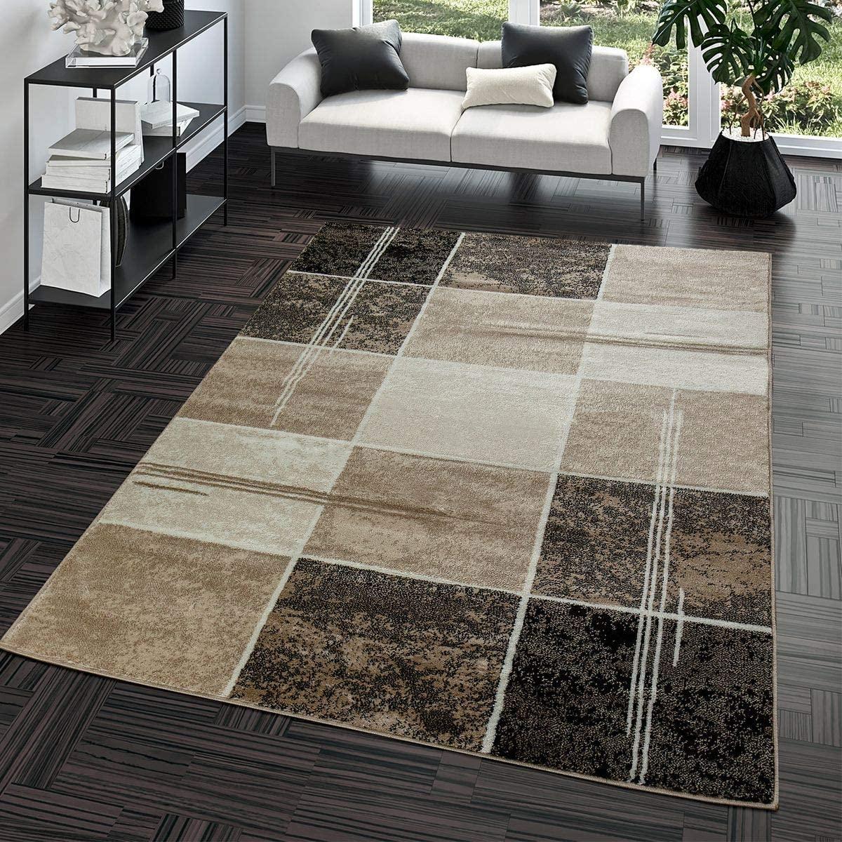 T&T Design Alfombra Salón Moderna Económica Diseño Cuadros Marrón Beige Crema Mejor Precio, Größe:160x220 cm