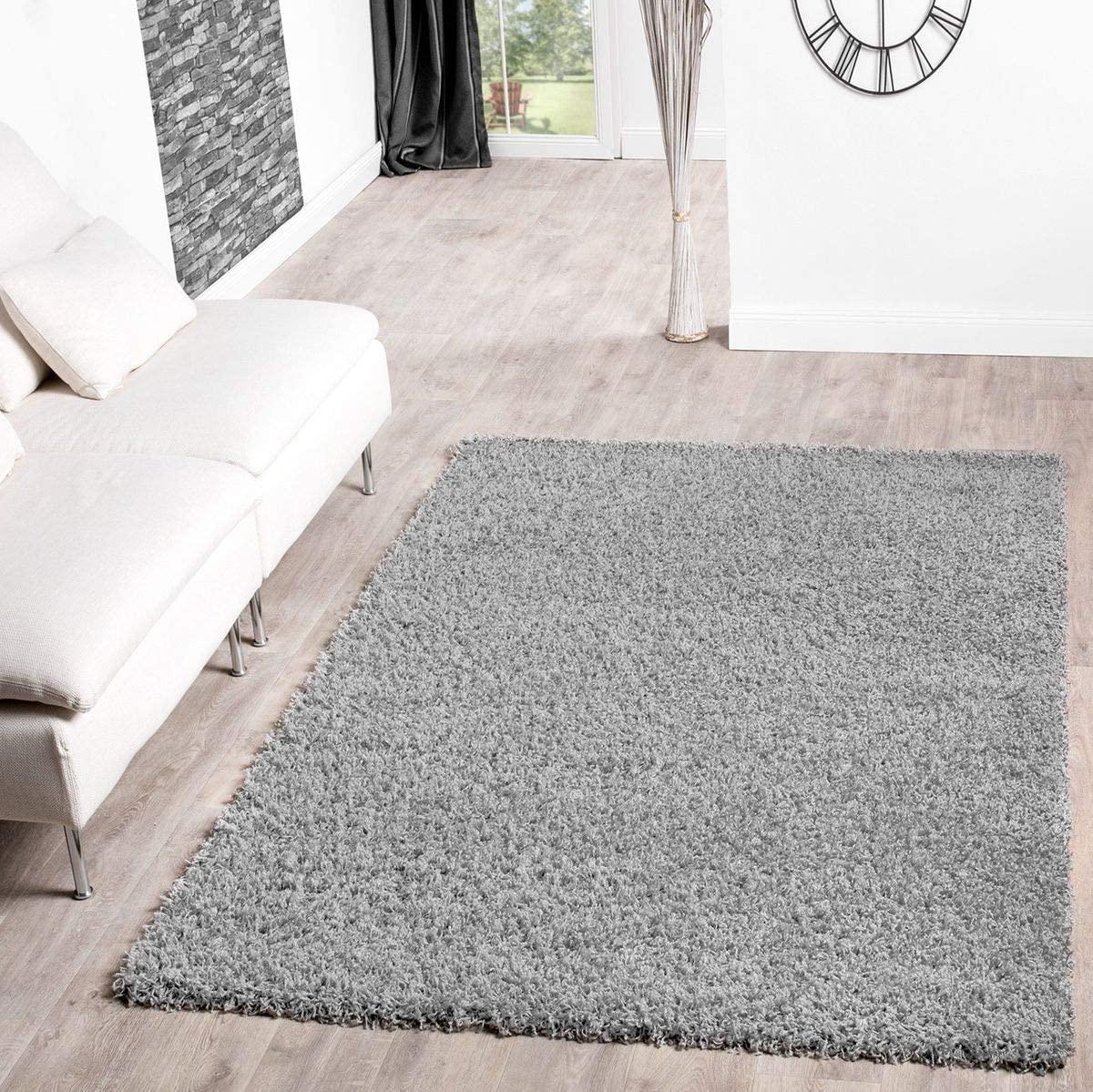T&T Design Alfombra Shaggy De Pelo Largo para Salón A Precio Inmejorable, Größe:160x220 cm, Farbe:Grey