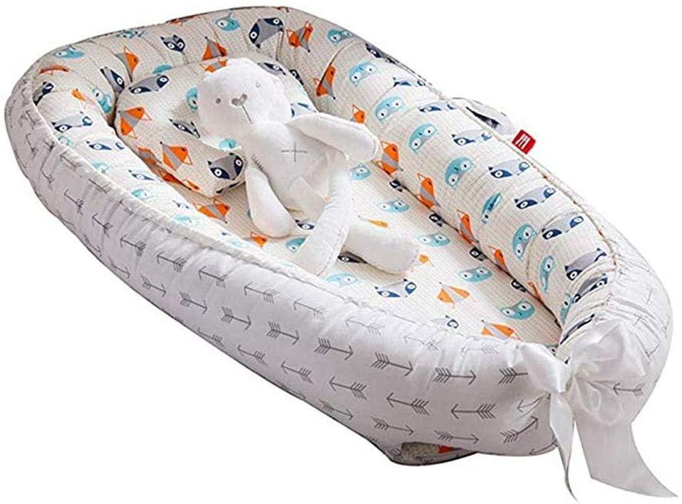 Tumbona para bebé y cuna de bebé para compartir nido Co, cuna de bebé dormida, 100% algodón suave, de calidad premium y tamaño más grande, transpirable, hipoalergénico, portátil zorro