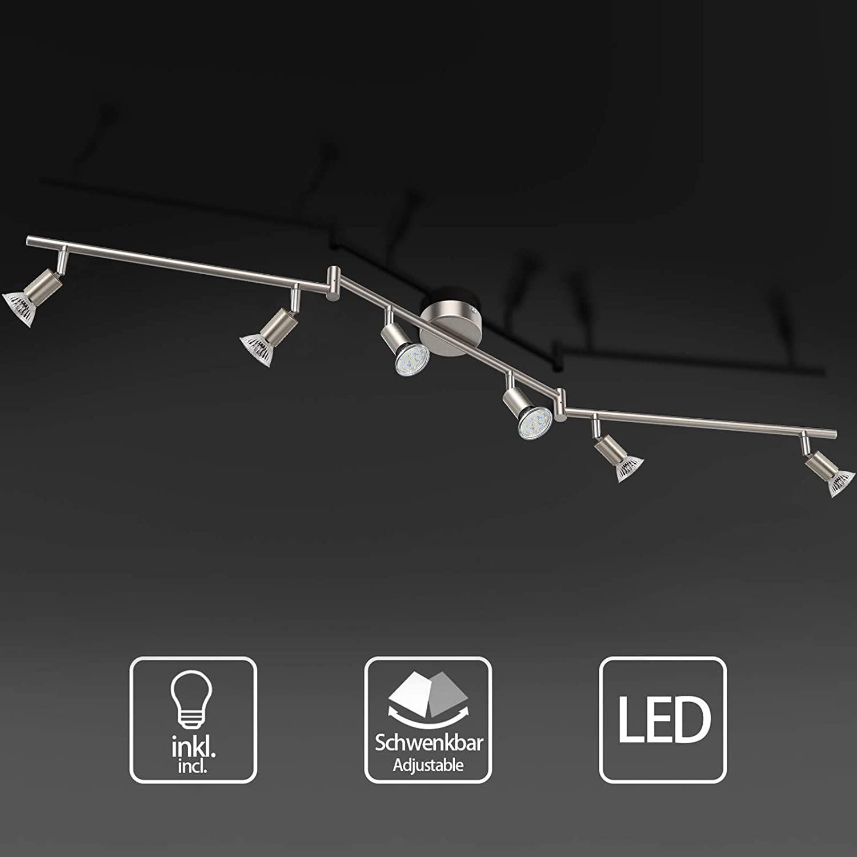 Uchrolls Foco LED para techo I 6 vías lamparas de techo led I Luz de techo I Orientable y giratoria Lámpara de salón giratoria (incluye 6 x 3.5 W bombillas LED GU10) [Clase de eficiencia energética A+]