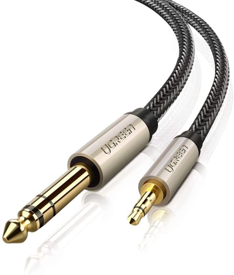 UGREEN Cable Jack 3.5mm a 6.35mm Macho a Macho, Cable Nylon Trenzado Audio Estéreo HiFi, Cable de Instrumento para Guitarra, Mezclador, Amplificador, Altavoces, Dispositivos de Cine en Casa, etc (1M)