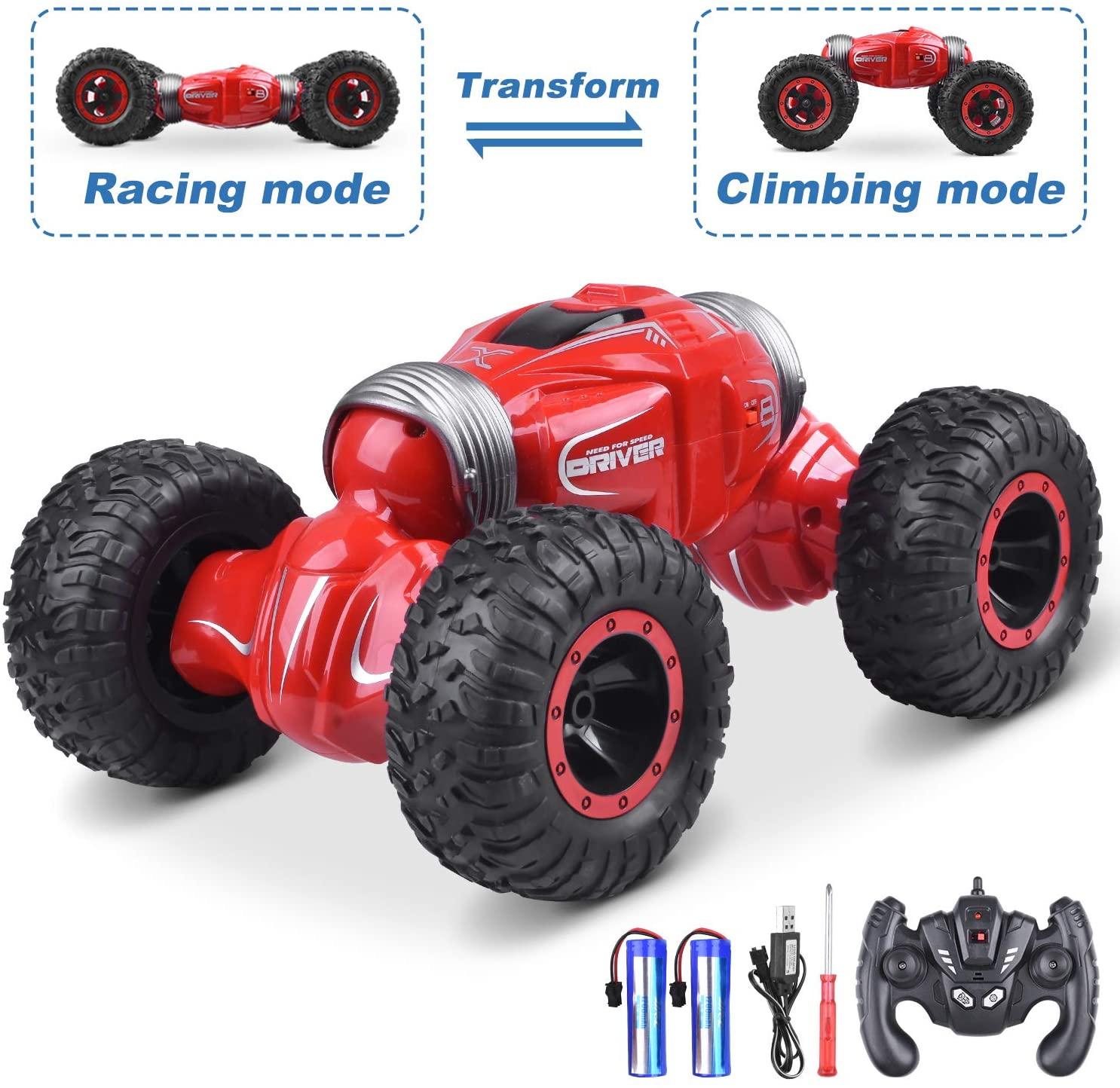 UNIROI RC Coche, 2.4Ghz 4WD Escalada Coche Stunt Car, Desformación Fuera de la Carretera Interior Exterior Juguete Coche para Niños - Q70(Rojo)