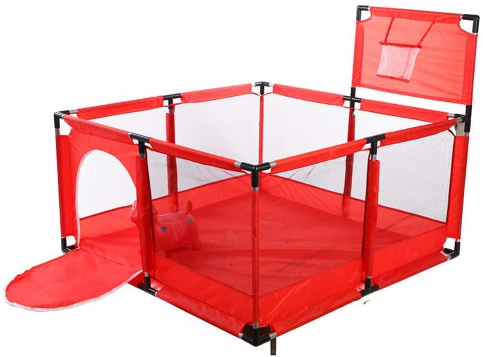 Valla de Juegos para Niños, Valla de Seguridad para Bebés, con Marco de la Bola. (Rojo)