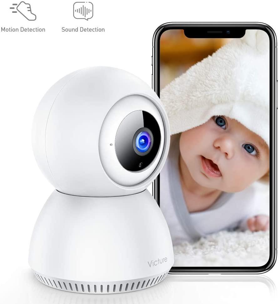[Vamos España] Victure 1080P Cámara IP WiFi Cámara de Vigilancia con Detección de Sonido y Seguimiento de Movimiento Camara vigilancia Solo Compatible con 2.4GHZ (Blanco) (Blanco)